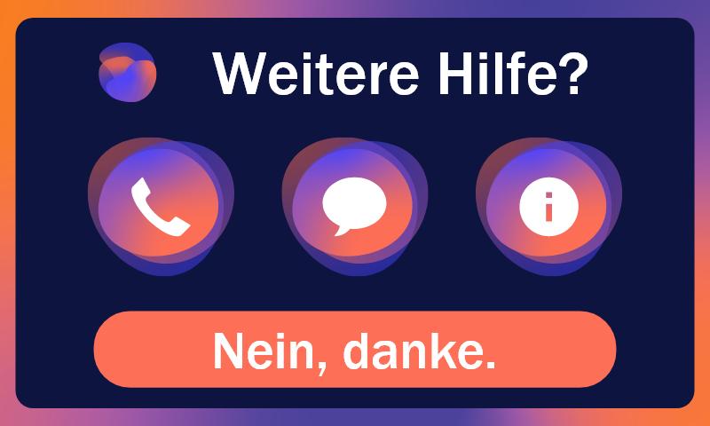 Screen der Anwendung KALM, welcher die Hilfsoptionen (Anrufen, Nachricht senden, mehr Informationen) anzeigt.