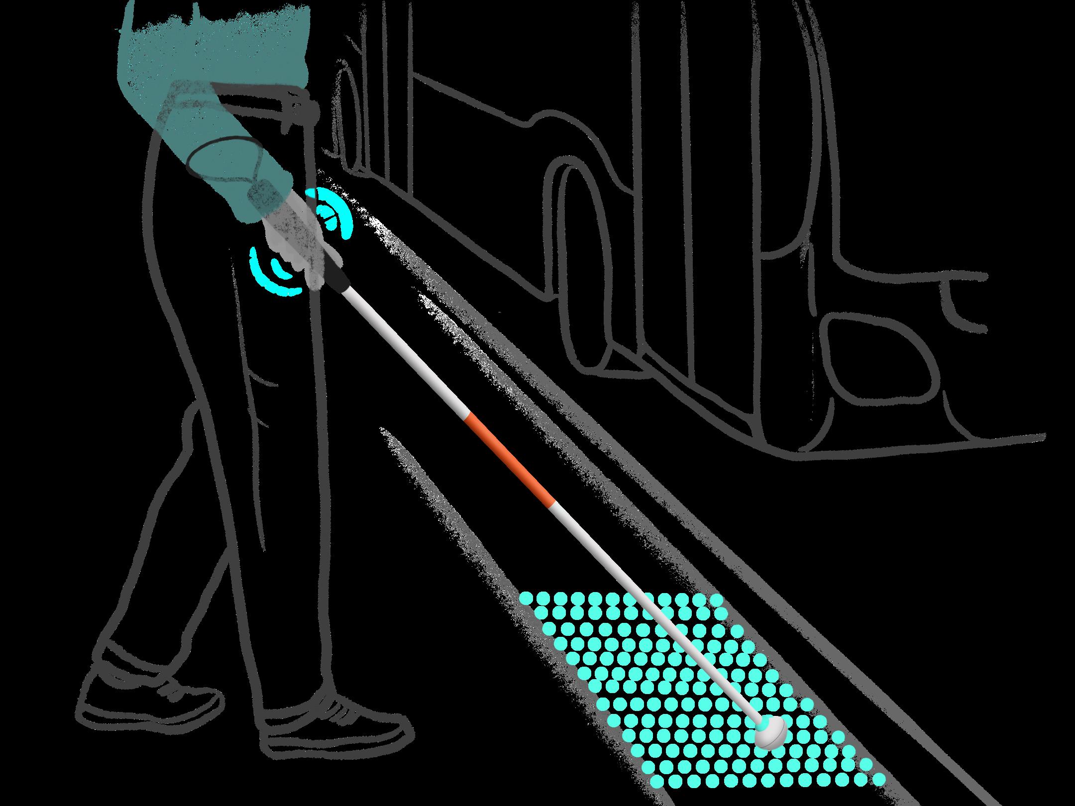 Eine Person die die virtuelle Noppenplatte mit den Blindenstockaufsatz von tactile spürt. Der Aufsatz führt die blinde Person zum Einstieg des einfahrenden Busses.