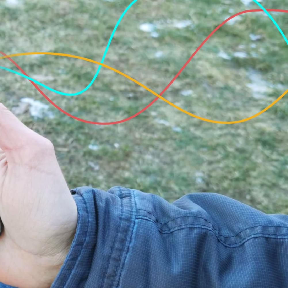 Die drei Linien des Graphen führen aus dem Smartphone heraus und werden in den Bildausschnitt weiter ausgeführt.