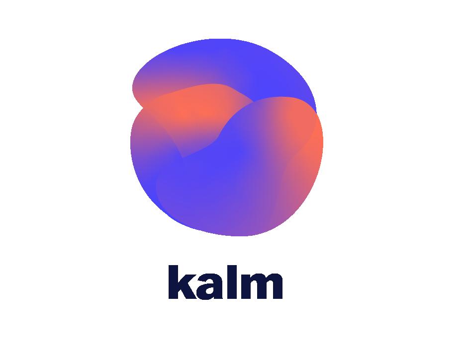 Logo KALM, drei überlappende Formen mit dunklem Schriftzug