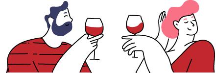 zwei personen trinken gemeinsam Wein und unterhalten sich