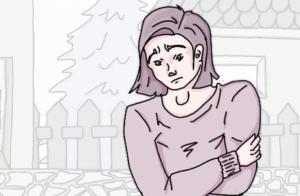 Abbildung der unglücklichen betroffenen Person