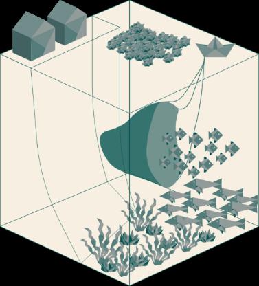 Beiger Würfel stellt eine Küstenregion mit Blick auf Hafen und Unterwasser dar, Origamielemente sind petrol gefärbt