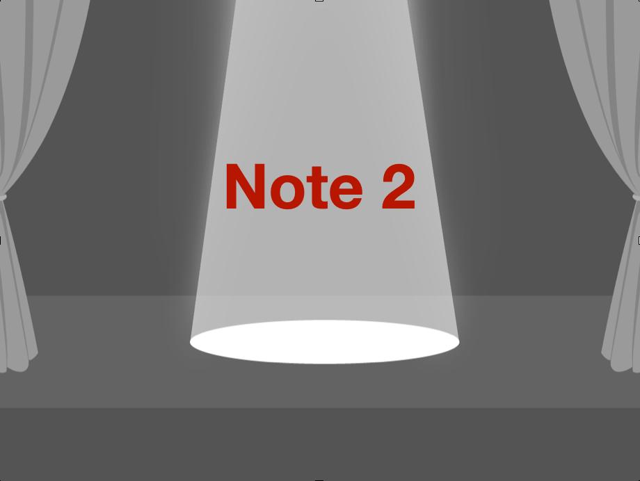 Bühne, auf der eine Note von Spotlights angestrahlt wird