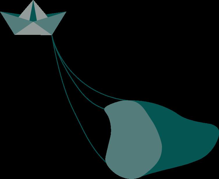 Transparenter Hintergrund, petrolfarbenes Fischerboot mit Schleppnetz, beides als Origamielemente