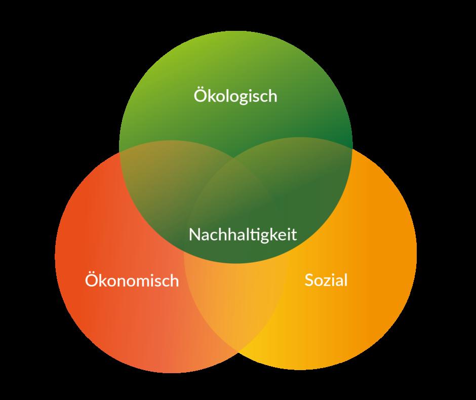 Schaubild Nachhaltigkeit: Ökologisch, Sozial, Ökonomisch