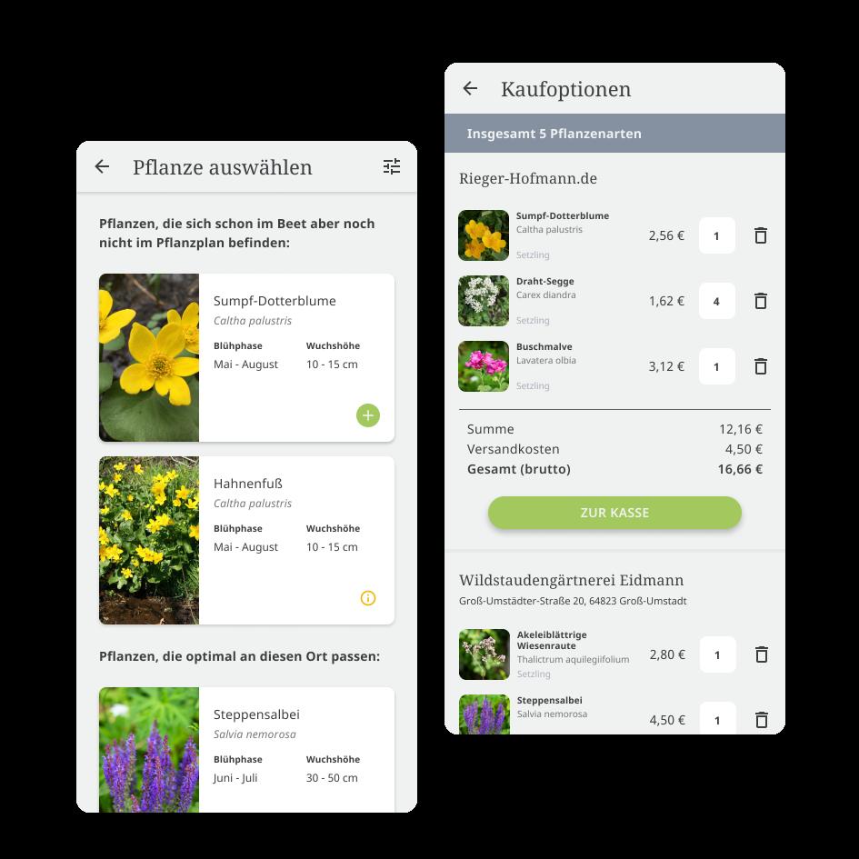 LYS Appscreens von der Pflanzenliste und der Shopseite