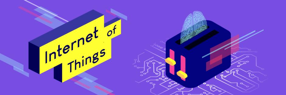 """Ein blauer Banner mit mehreren bunten Objekten und Formen, wie Rechtecken, ein Toaster und ein Gehirn. Zusehen ist die Aufschrift """"Internet of Things""""."""