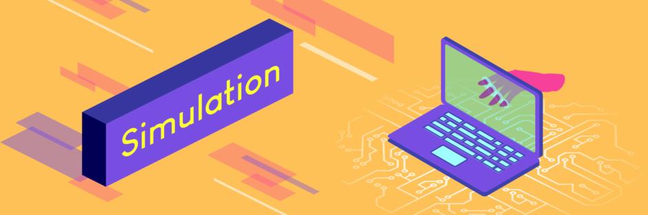 """Ein orangener Banner mit mehreren Objekten und Formen, wie Rechtecken, ein Laptop und eine Hand. Zusehen ist die Aufschrift """"Simulation""""."""
