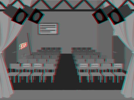 Selber Raum, wie eben, aber mit buntem und chaotischem 3D-Effekt überzogen